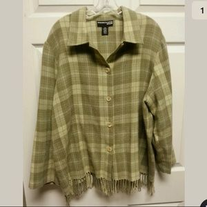 Green plaid fringe wool